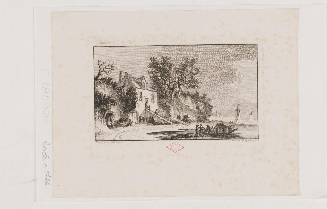 Vue des bords d'une rivière avec enrochement et trois barques dont deux à voile_0