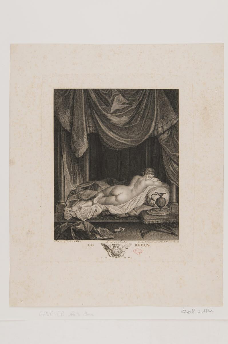 BEAUDOIN (dessinateur), GAUCHER Charles Etienne (graveur), NETSCHER Caspar (inventeur) : Le Repos