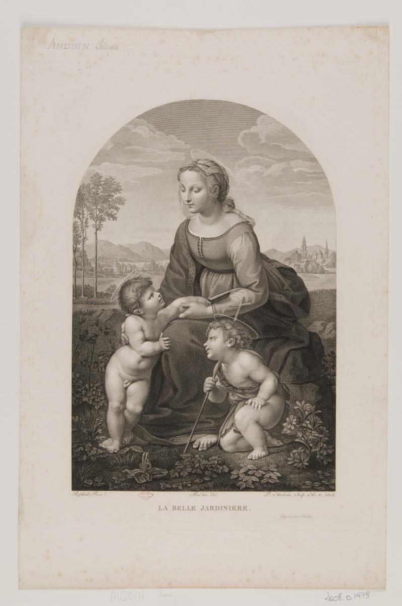 AUDOUIN Pierre (graveur), PRUD'HON Pierre Paul (dessinateur), RAMBOZ A (imprimeur), SANZIO Raffaello (inventeur), RAPHAEL (dit) : La Belle Jardinière
