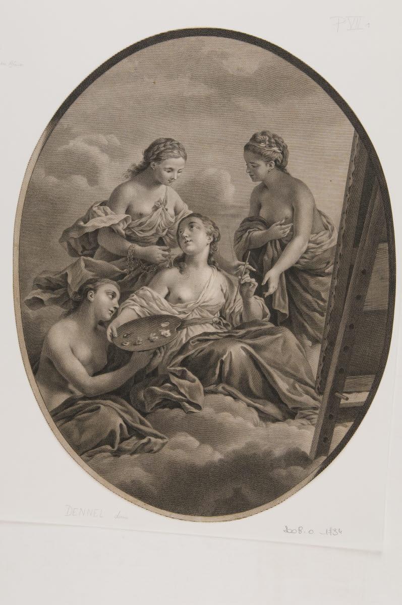DENNEL Antoine François (graveur), LAGRENEE Louis Jean François (inventeur) : La Peinture chérie des Grâces