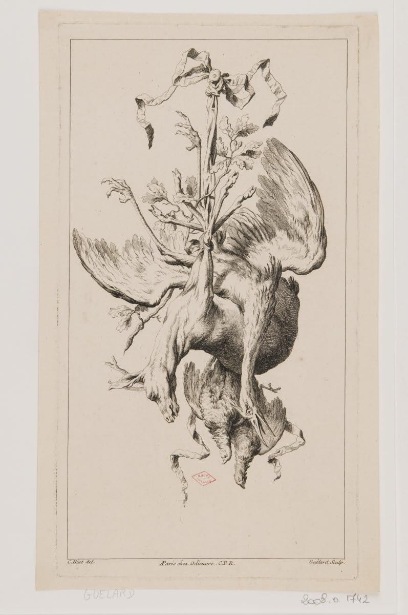 Trophée de chasse avec un cervidé, un échassier et deux oiseaux_0