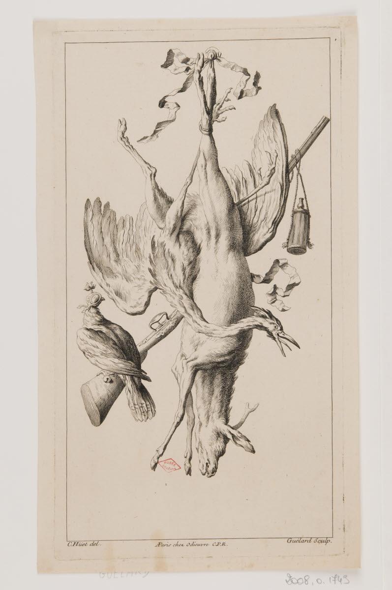 GUELARD Jean-Baptiste (graveur), HUET Christophe (inventeur, d'après), ODIEUVRE Michel (éditeur) : Trophée de chasse avec un cervidé, un échassier, un rapace et un fusil
