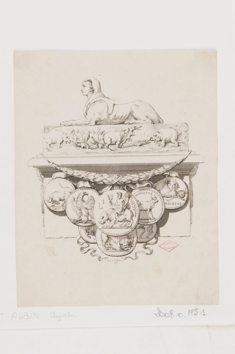Composition avec un sphinx, des pièces anciennes et un combat d'éléphants et d'hippopotames_0