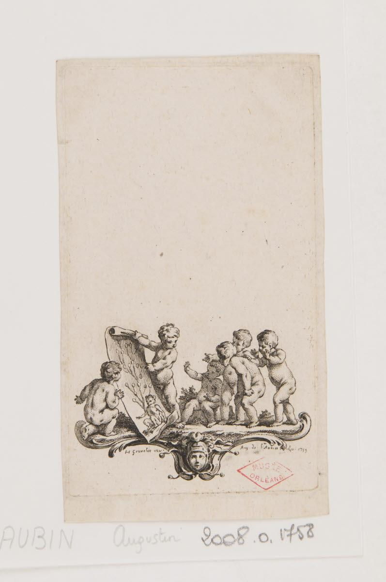 BOURGUIGNON D'ANVILLE Hubert François (inventeur), SAINT-AUBIN Augustin de (graveur) : Cul-de-lampe : putti regardant un arbre généalogique