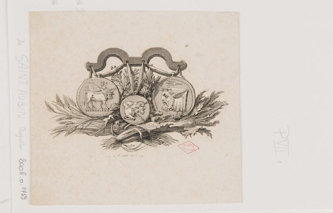 SAINT-AUBIN Augustin de (inventeur, graveur) : Composition avec trois monnaies antiques représentant des taureaux à tête humaine