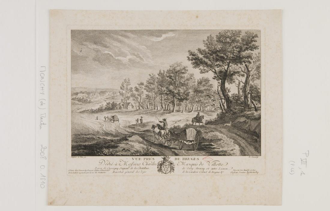 BRUEGHEL Jan I (inventeur), BRUEGHEL DE VELOURS (dit), MONCHY Martin de (graveur, éditeur) : Vue près de Bruges