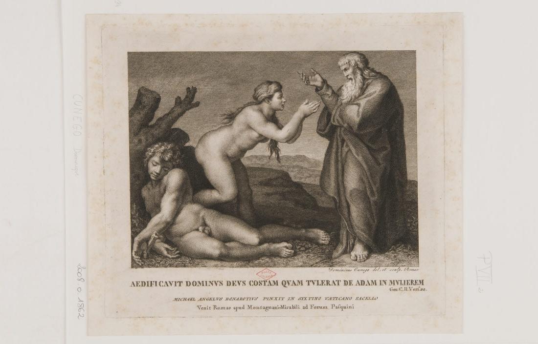 BUONARROTI Michelangelo (inventeur), CUNEGO Domenico (dessinateur), CUNEGO Domenico (graveur), MONTAGNANI-MIRABILI Pietro Paolo (éditeur) : Création d'Eve