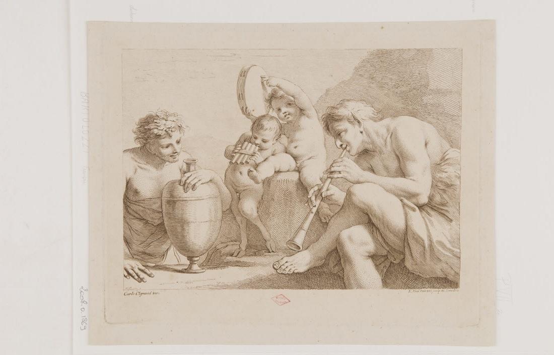 BARTOLOZZI Francesco (graveur), CIGNANI Carlo (inventeur, d'après) : Faunes musiciens