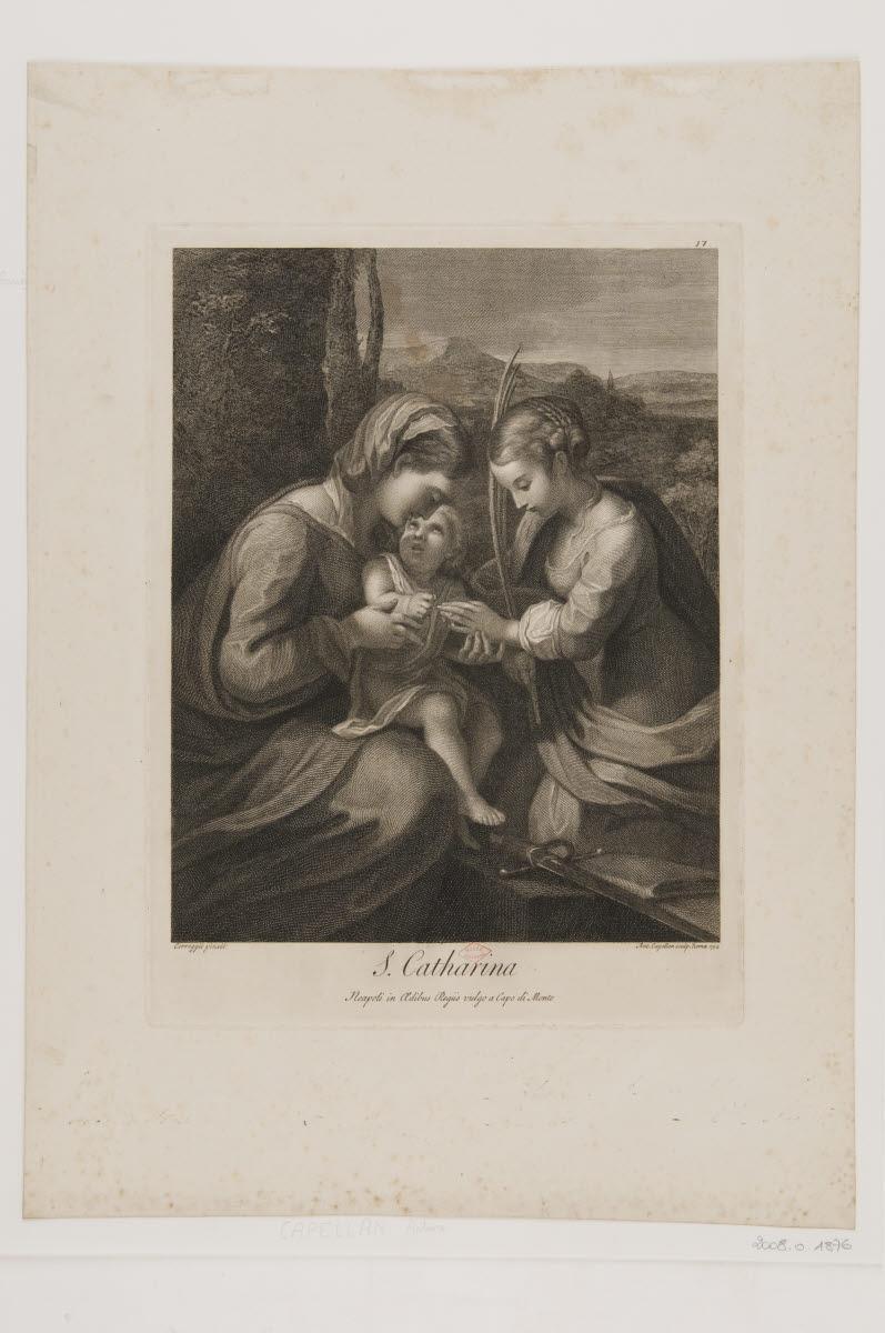 ALLEGRI Antonio (inventeur, d'après), CAPELLANI Antonio (graveur) : Le mariage mystique de sainte Catherine