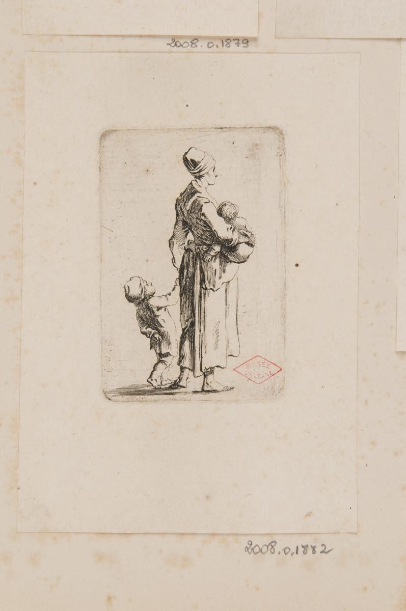 CHODOWIECKI Daniel Nicolas (graveur) : Femme de profil et deux enfants