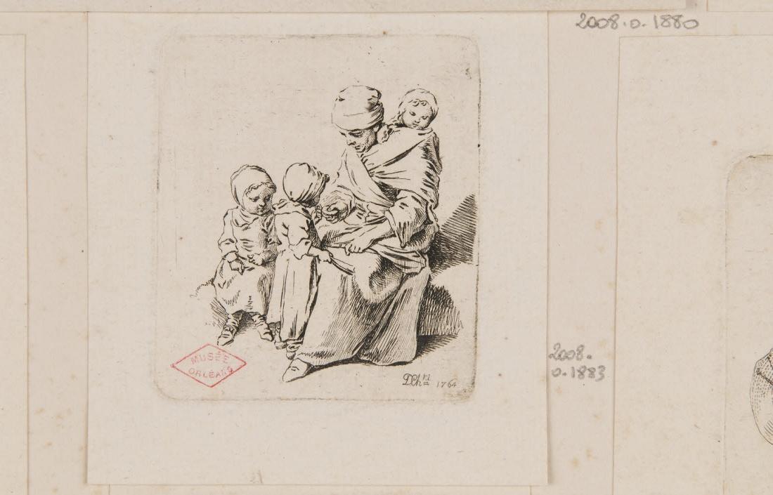CHODOWIECKI Daniel Nicolas (graveur) : Femme assise et trois enfants