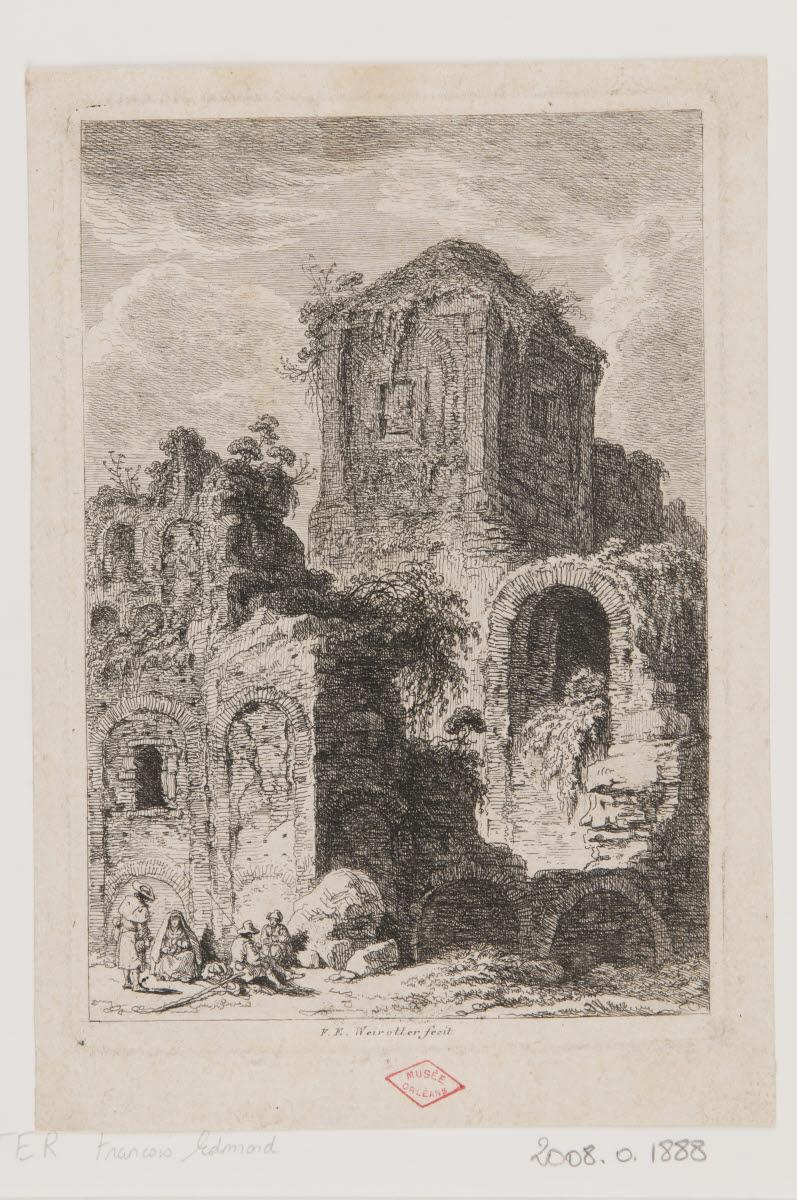 WEIROTTER Franz Edmund (graveur) : Ruines avec quatre personnages en bas à gauche