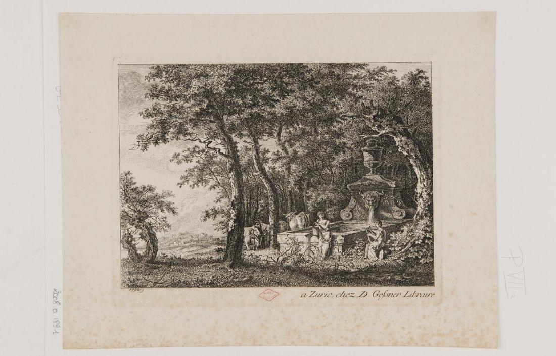 GESSNER D (éditeur), GESSNER Salomon (graveur) : Paysage boisé avec une fontaine