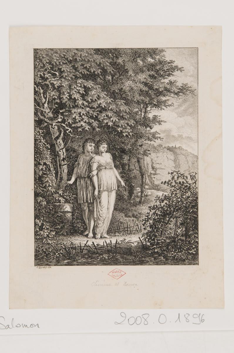 Un jeune couple dans un paysage [Climène et Damon ?]_0