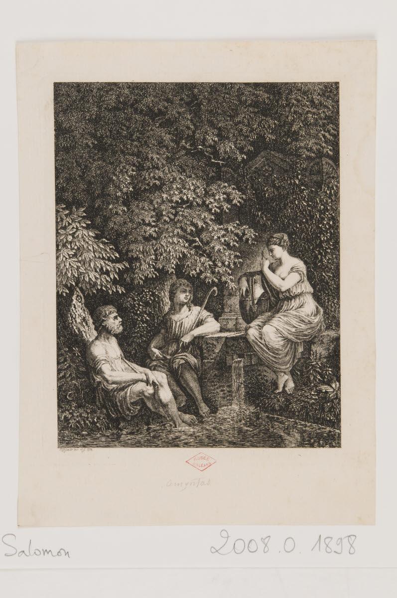 Trois personnages dans une forêt près d'une fontaine [Amyntas ?]_0