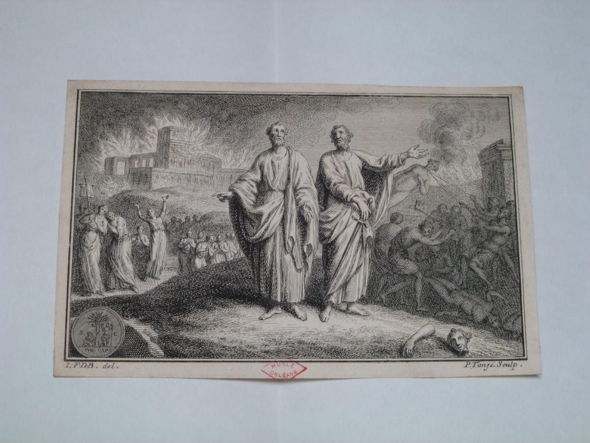 Monogrammiste L F D B (inventeur, d'après), TANJE Pieter (graveur) : Incendie d'une ville et deux saints (Paul ?)