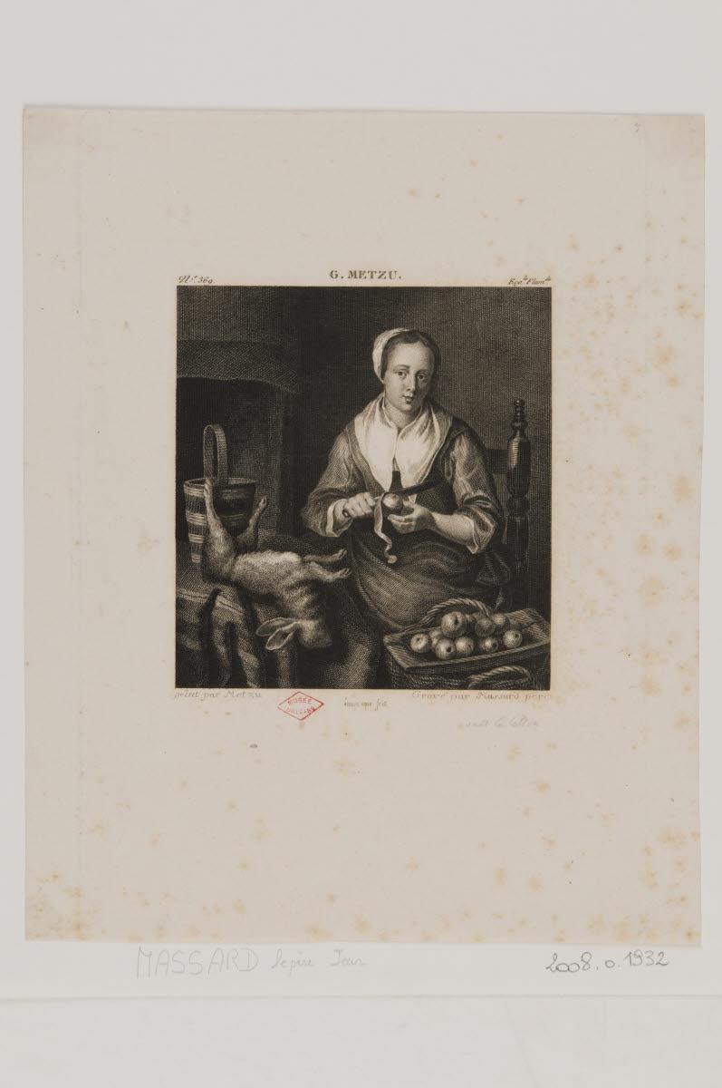 LEROUGE Edouard (graveur, ?), MASSARD Jean-Baptiste, MASSARD le Père (graveur, ?), METSU Gabriel (inventeur, d'après) : L'éplucheuse de pommes