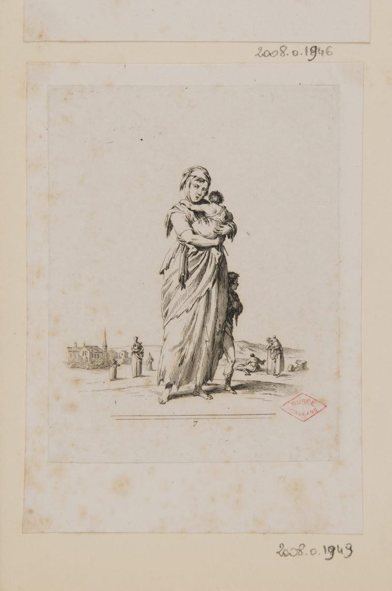 DUPLESSI-BERTAUX Jean (graveur) : Une mendiante et son enfant