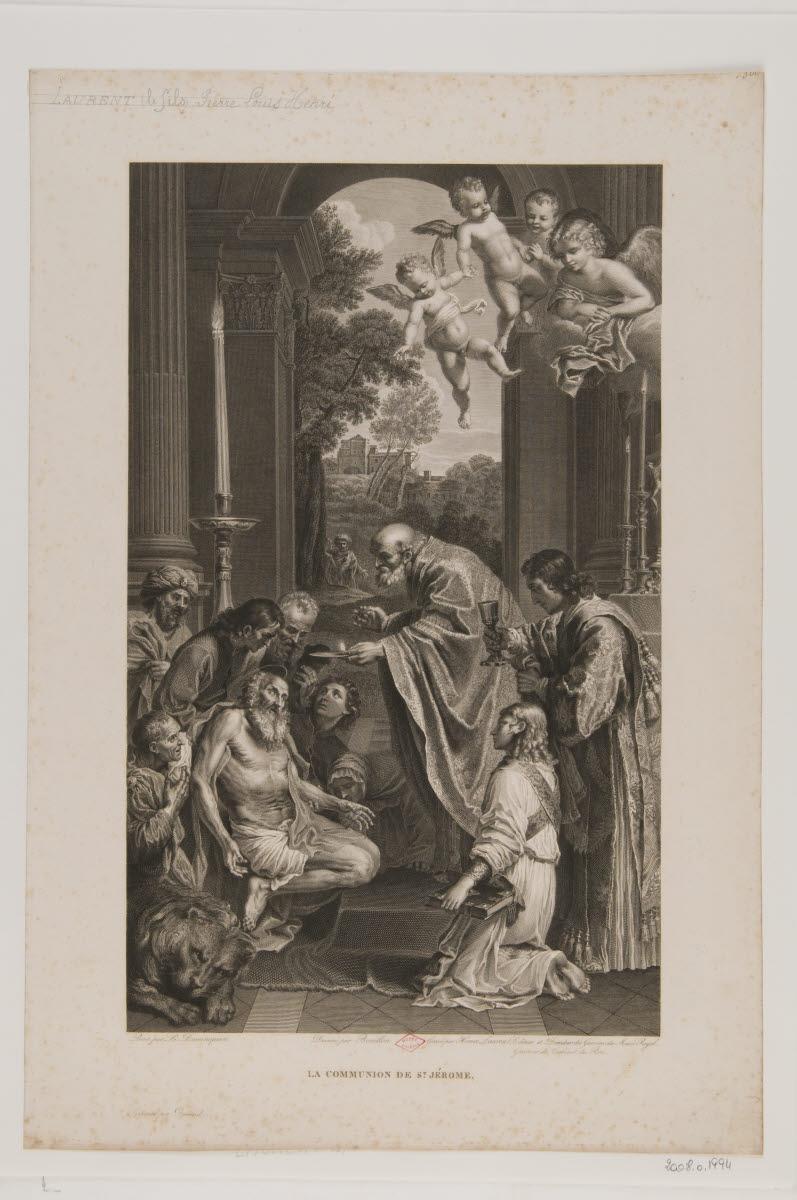 BOUILLON Pierre (dessinateur), DURAND (imprimeur), LAURENT Henri Adolphe Louis (graveur), ZAMPIERI Domenico (inventeur) : La Communion de saint Jérôme