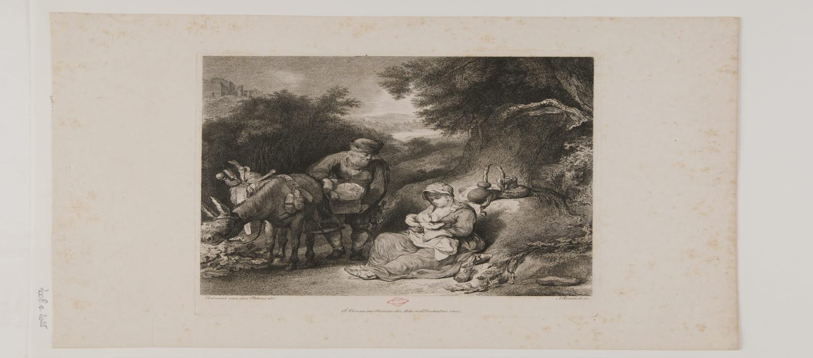 BARTSCH Adam von (graveur), BUREAU DES ARTS ET D'INDUSTRIE (éditeur), EECKHOUT Gerbrand van den (inventeur) : Le Repos pendant la fuite en Egypte