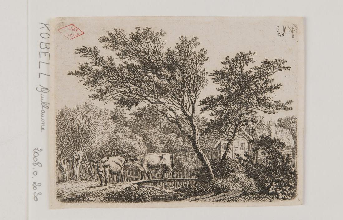 Paysage avec deux vaches près d'une ferme_0