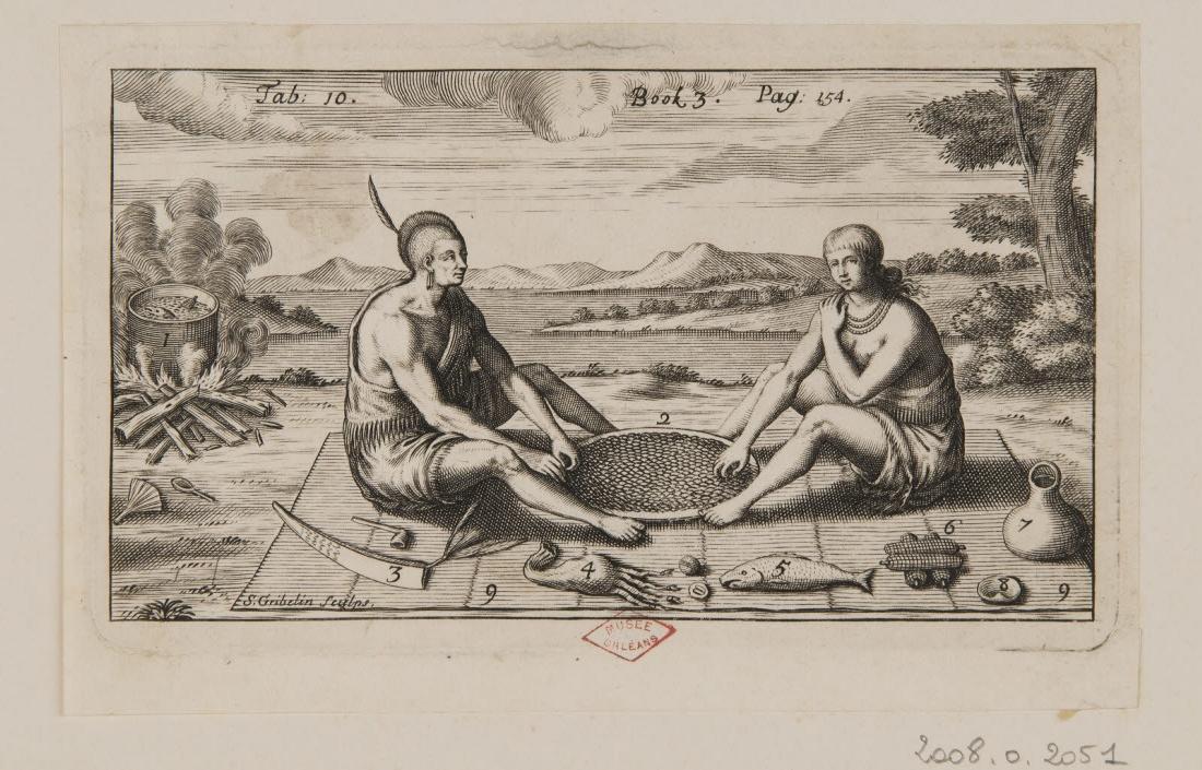 GRIBELIN Simon (graveur) : Un indien et une indienne mangeant