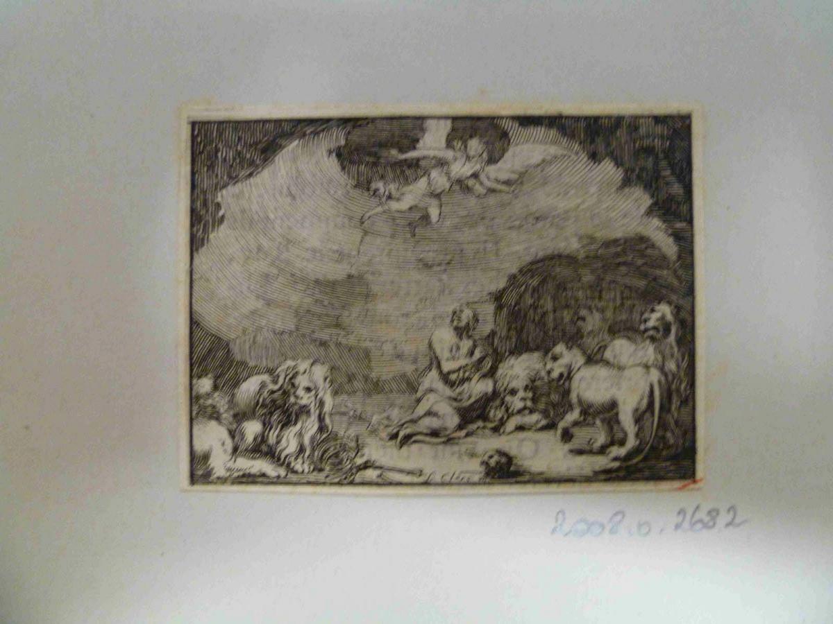 Daniel dans la fosse aux lions, avec un ange apparaissant au dessus de lui_0