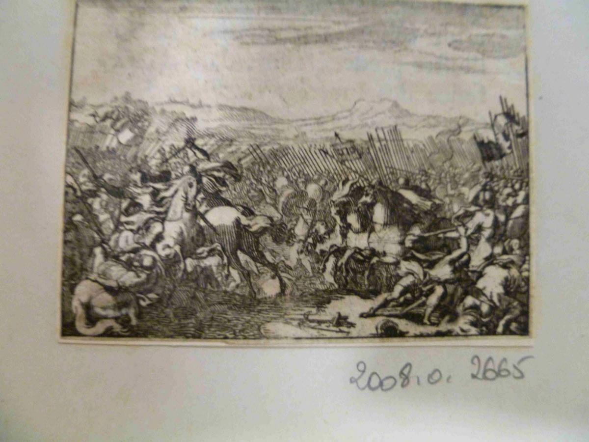 LECLERC Sébastien II (graveur), SERCY Charles de (éditeur), FINE DE BRIANVILLE Claude Oronce (écrivain) : Jonathas en chef militaire, bataille de cavalerie après la mort de Judas