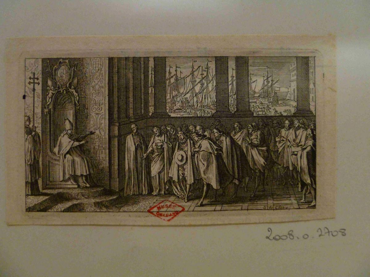 LECLERC Sébastien II (graveur) : Un évêque sur son trône recevant des gentilhommes