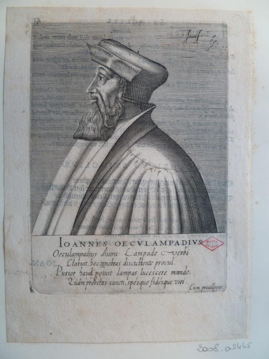 HONDIUS Hendrick (graveur), HONDIUS le Vieux (dit) : Portrait de Jean Husschin dit OEcolampade