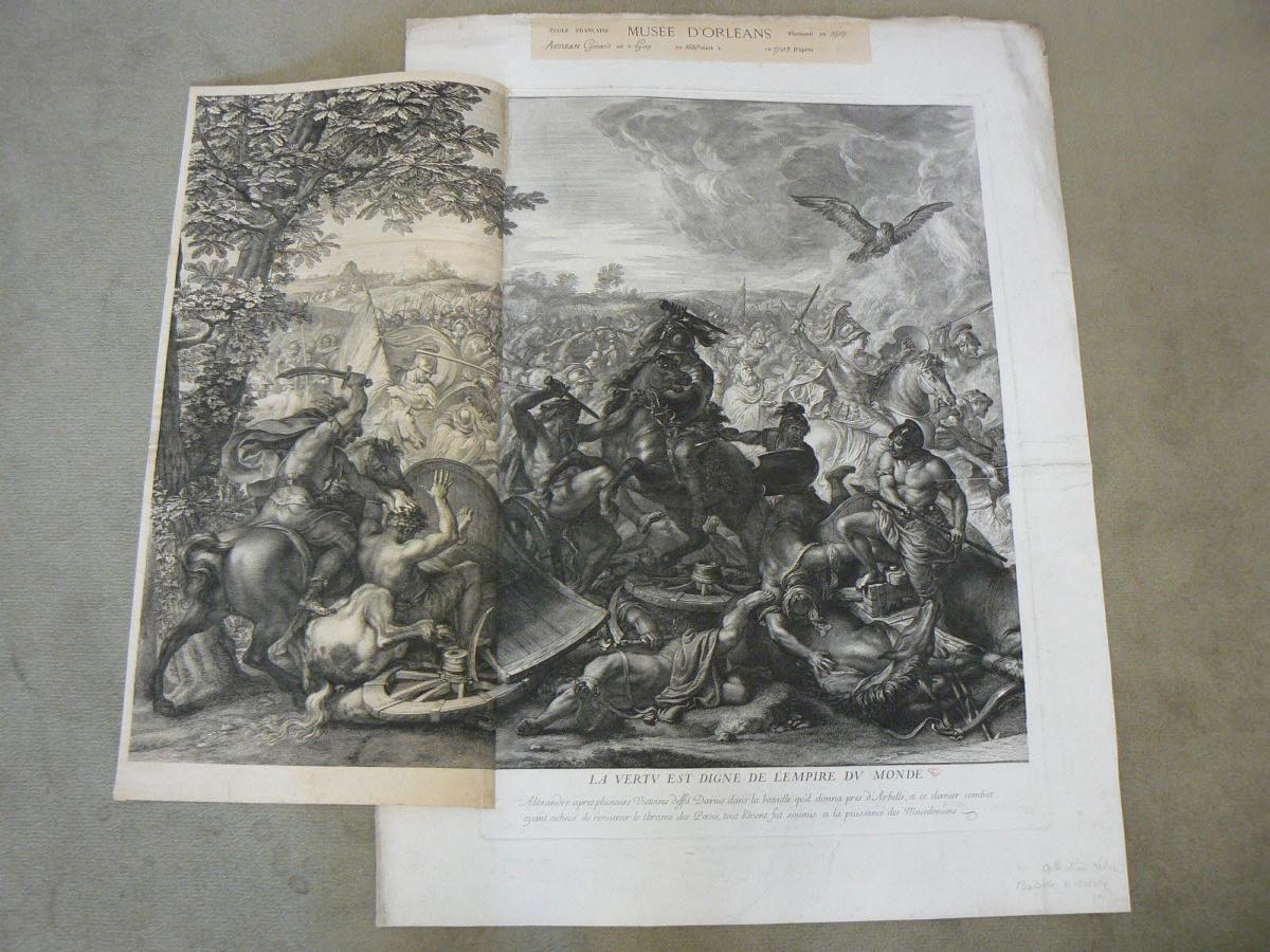 AUDRAN Gérard (graveur), LE BRUN Charles (inventeur) : La Bataille d'Arbelles (partie gauche)