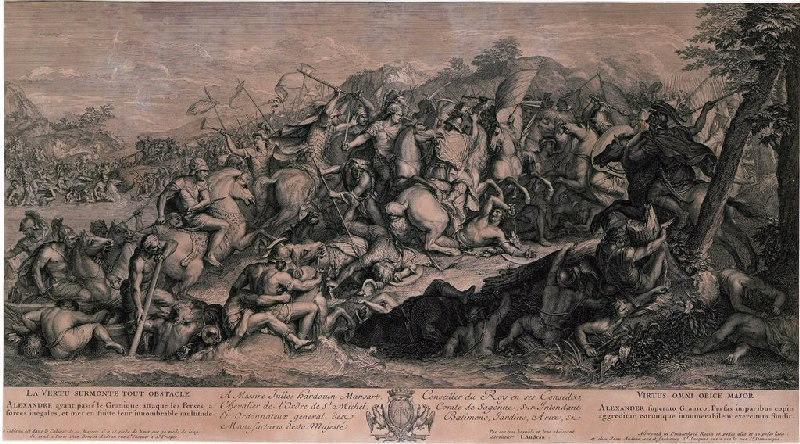 AUDRAN Jean (graveur), LE BRUN Charles (d'après, peintre) : La bataille du Granique