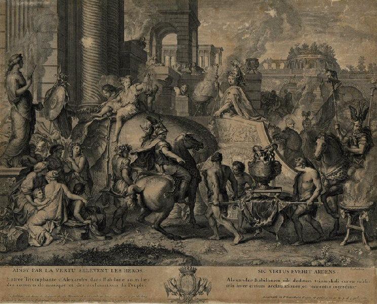 AUDRAN Jean (graveur), LE BRUN Charles (d'après, peintre) : L'entrée triomphale d'Alexandre dans Babylone