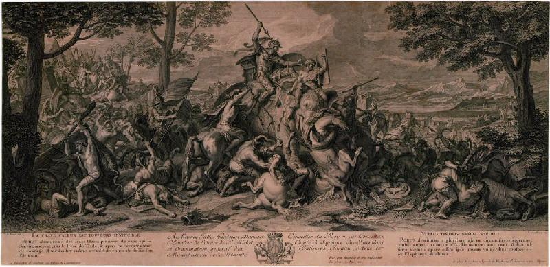 AUDRAN Jean (graveur), LE BRUN Charles (d'après, peintre) : La défaite de Poros