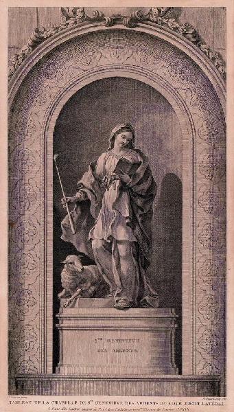FESSARD Etienne (graveur), NATOIRE Charles Joseph (d'après, peintre) : Sainte Geneviève des Ardents