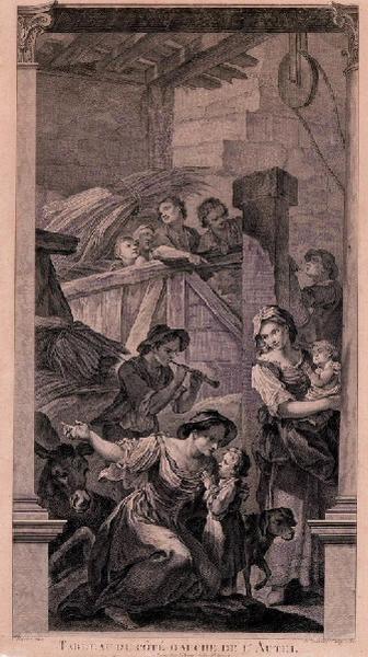 FESSARD Etienne (graveur), NATOIRE Charles Joseph (d'après, peintre) : Flûteur et villageois