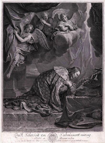 EDELINCK Gérard (graveur), LE BRUN Charles (d'après, peintre) : Saint Louis vénérant la couronne d'épines