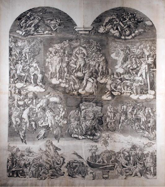 GHISI Giorgio (graveur), MICHEL-ANGE (dit), BUONARROTI Michelangelo (d'après) : Jugement dernier