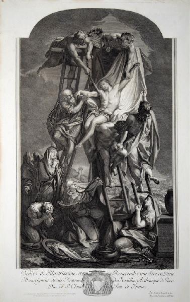 AUDRAN Benoît I (graveur), LE BRUN Charles (d'après, peintre) : Déposition de croix