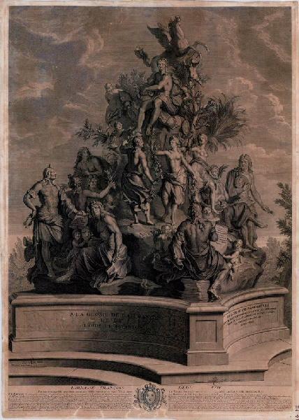 AUDRAN Jean (graveur), POILLY Nicolas le Jeune de (dessinateur, peintre), GARNIER Louis (d'après, sculpteur) : Parnasse français