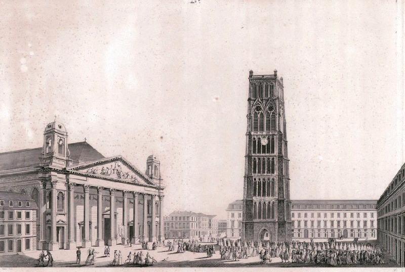 VARIN Joseph I (graveur), VARIN Charles Nicolas (graveur), LOUIS Louis Nicolas Victor (d'après, architecte), LOUIS Victor (dit) : Elévation perspective du portail de l'église Saint-Eloy à Dunkerque