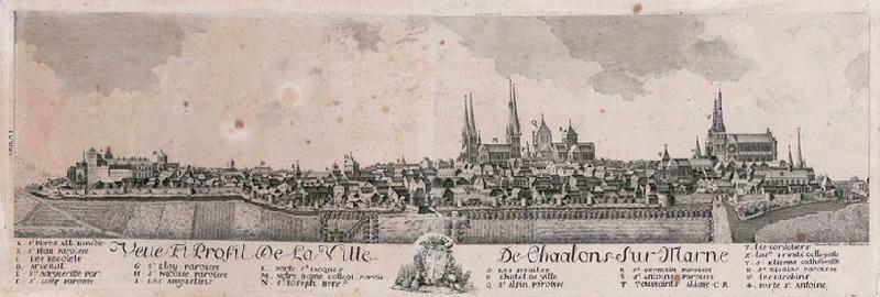 VARIN Charles Nicolas (graveur) : Vue et profil de la ville de Châlons-sur-Marne