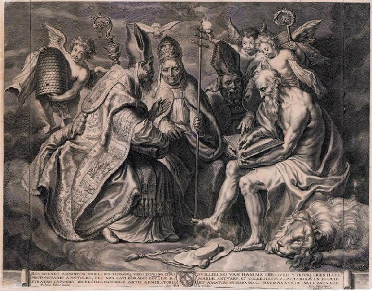 GALLE Cornelis le Vieux (graveur), RUBENS Pierre Paul (d'après, peintre) : Les Pères de l'Eglise