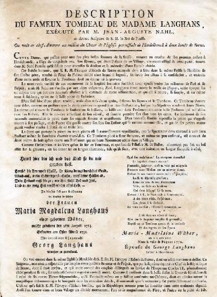 MECHEL Christian von (graveur) : Tombeau de Madame Langhans