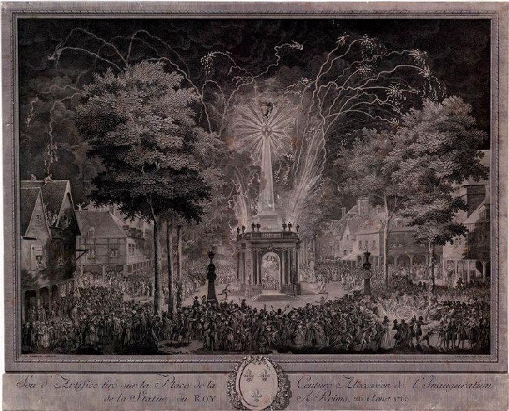 VARIN Joseph I (graveur), VARIN Charles Nicolas (graveur), VAN BLARENBERGHE Louis Nicolas (d'après, peintre) : Feu d'artifice tiré sur la place de la Couture à l'occasion de l'inauguration de la statue du Roi à Reims le 26 août 1765