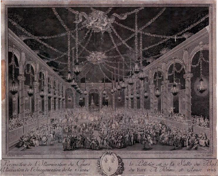 Perspective de l'illumination du cours le Pelletier et de la salle du bal, à l'occasion de l'inauguration de la statue du Roi à Reims, le 28 août 1765