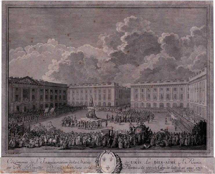 VARIN Joseph I (graveur), VARIN Charles Nicolas (graveur), VAN BLARENBERGHE Louis Nicolas (d'après, peintre) : Cérémonie de l'inauguration de la statue de Louis le Bien-aimé, à Reims, le 26 août 1765
