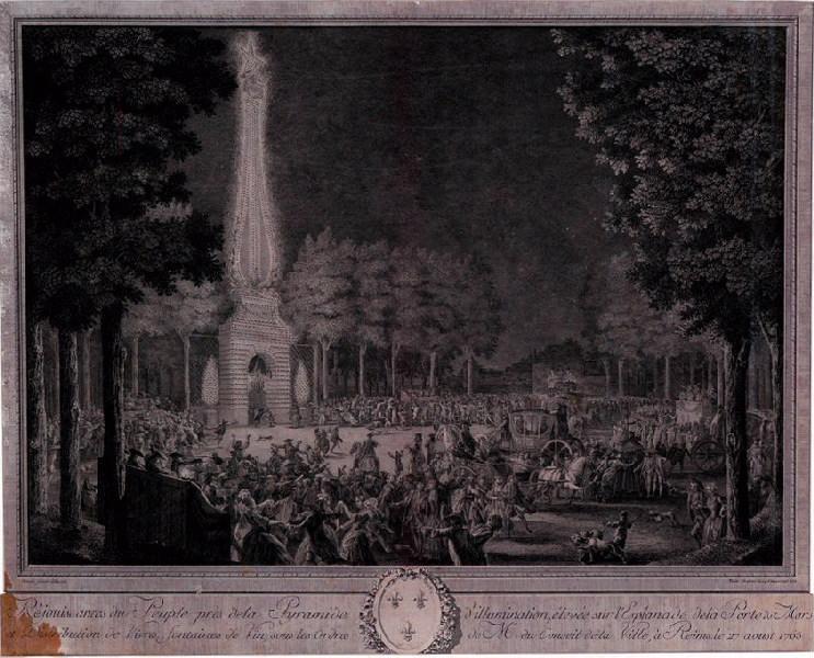 VARIN Joseph I (graveur), VARIN Charles Nicolas (graveur), MOREAU Jean-Michel le Jeune (d'après, peintre) : Réjouissances du Peuple près de la Pyramide d'illumination, élevée sur l'esplanade de la porte de Mars et distribution de vivres, fontaines de vin, sous les ordres de Mrs, du Conseil de la Ville à Reims le 27 août 1765