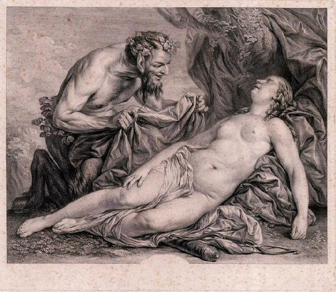 FESSARD Etienne (graveur), VAN LOO Carle (d'après, peintre) : Sommeil d'une nymphe