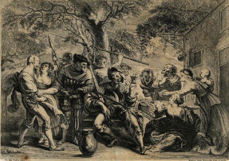 WYNGAERDE Frans van den (graveur), RUBENS Pierre Paul (d'après, peintre) : Soldats faisant du tapage devant une auberge